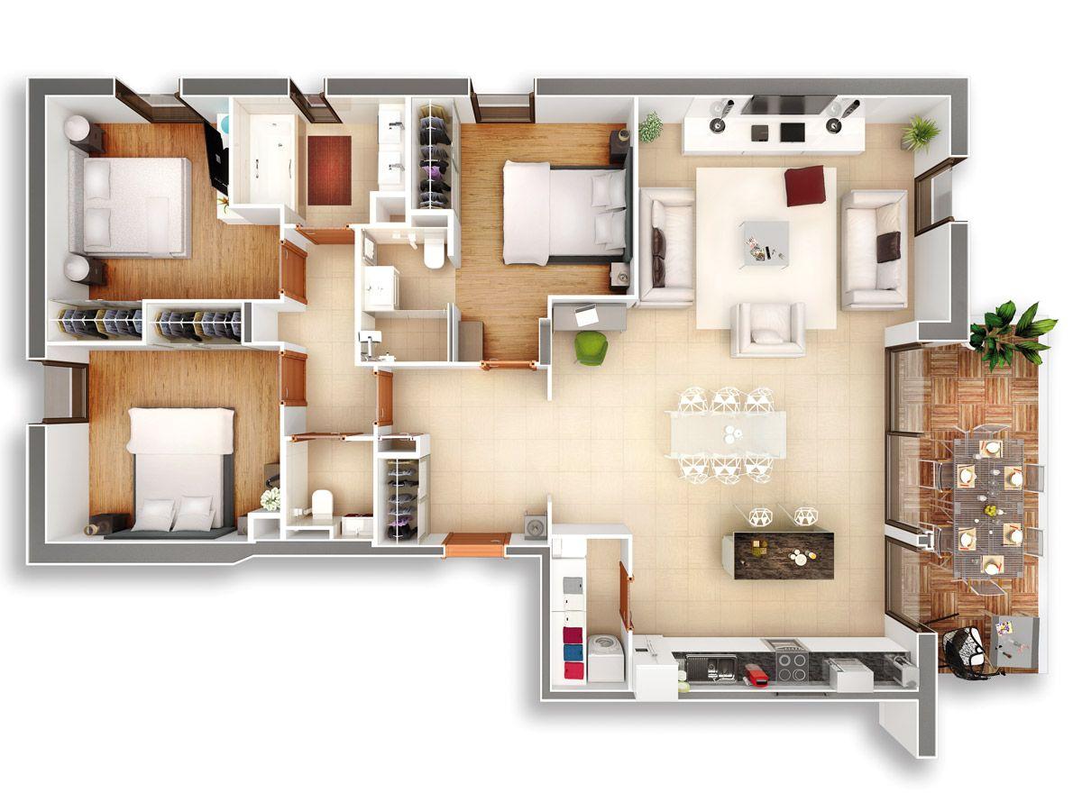 Elitys plan3d t4 1200 900 d coration for Plan maison t4