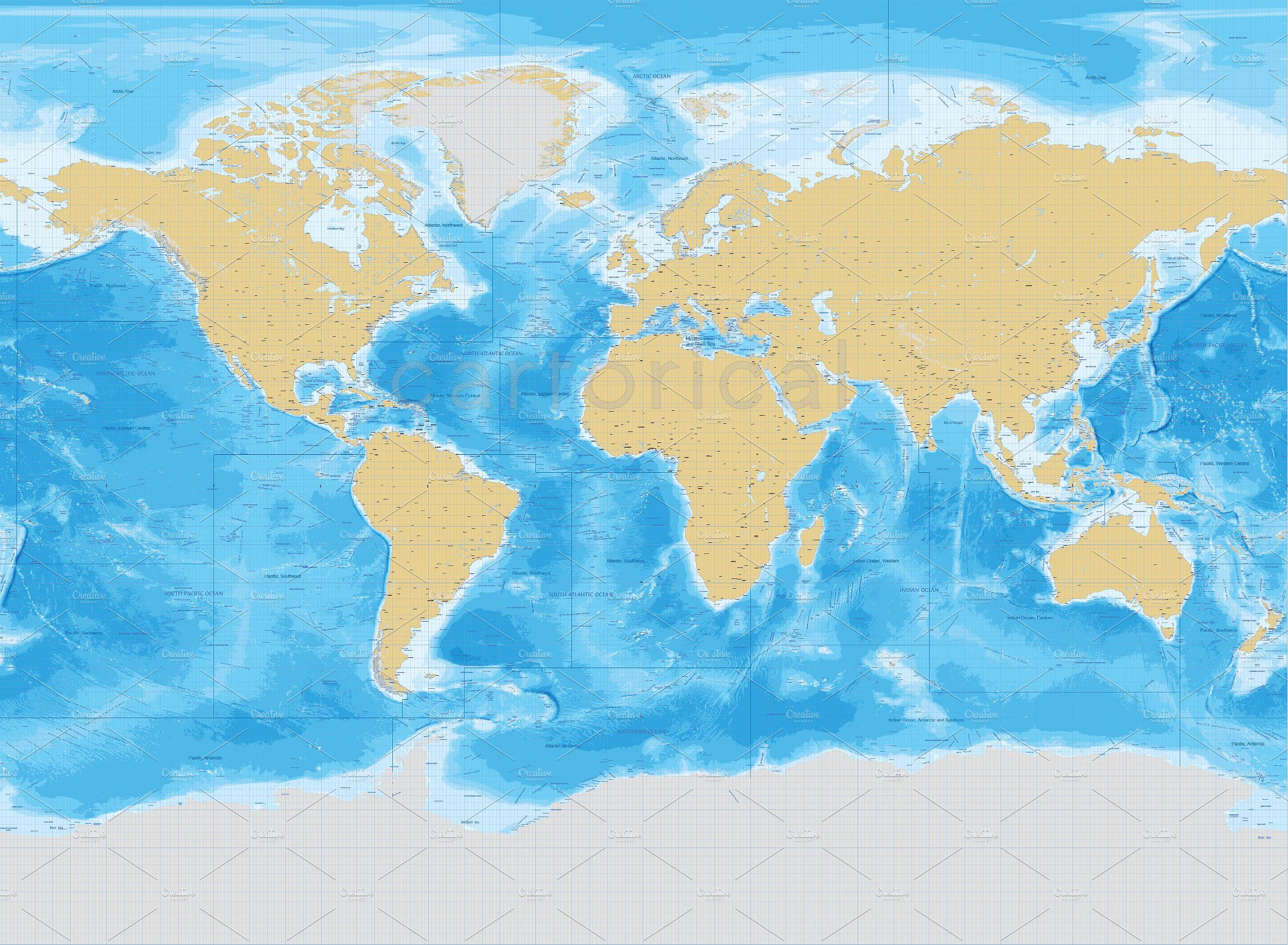 Marine World Vector Map Selected Interval Palette Adapted