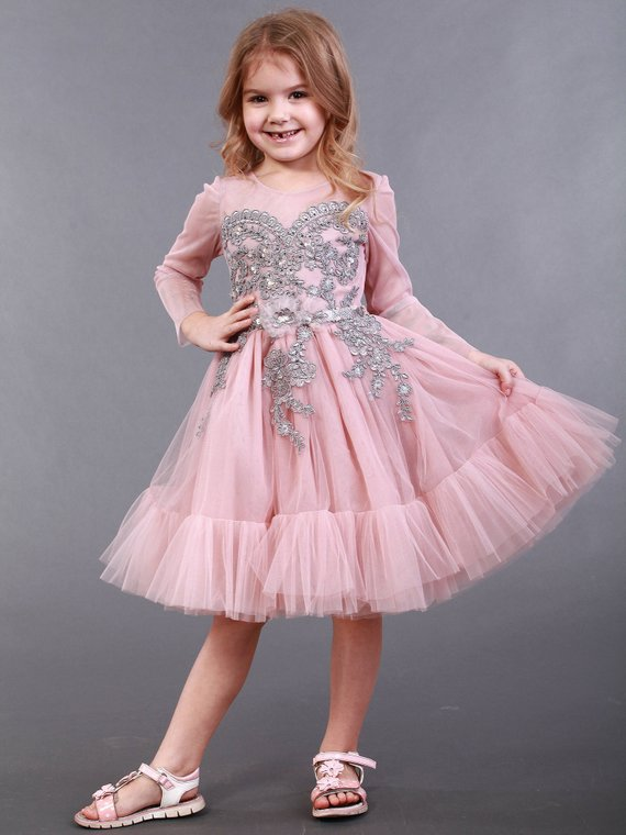 d9be9a2452036 Pink Tutu Dress with Gray Lace !SALE! powder flower girl dress ...