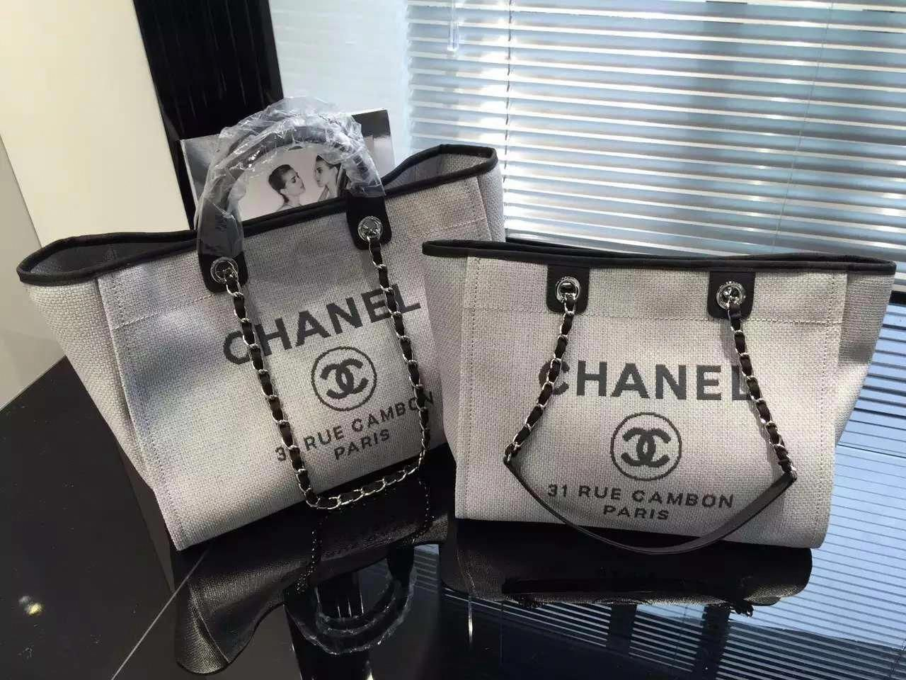 Chanel Toile Deauville Canvas Shopping Tote Bag 2015-2016 Collection ... 13d81f7902d63