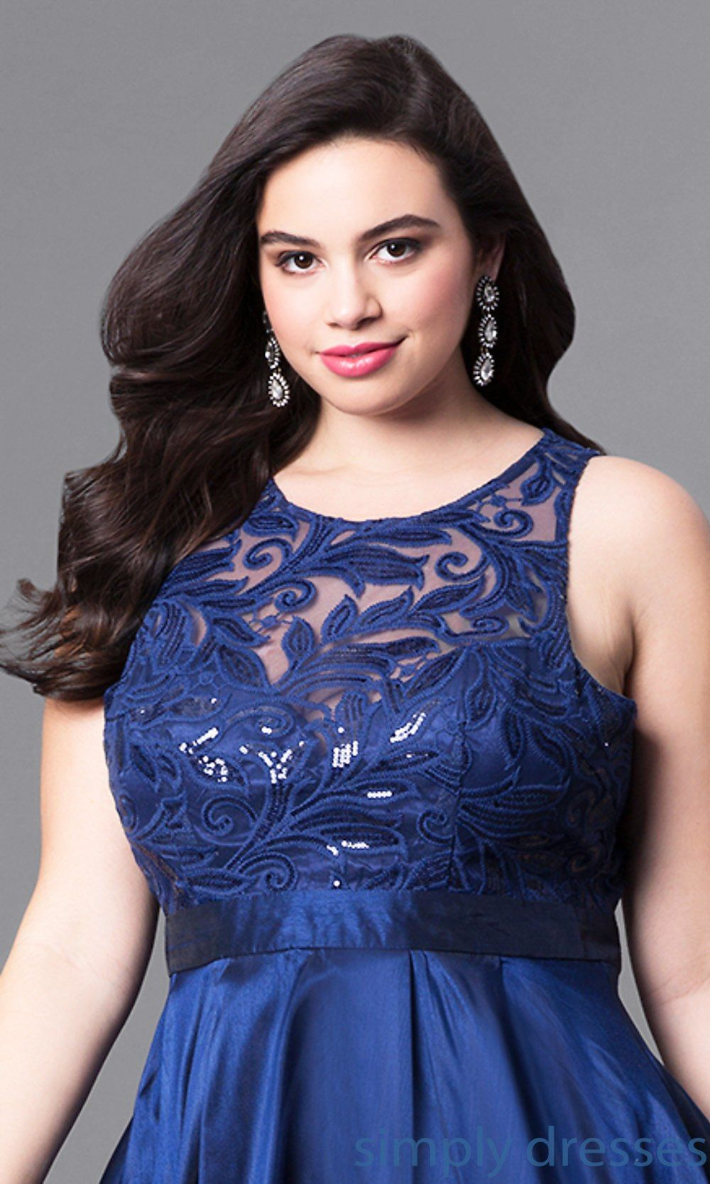 6c60e538188c3 Shop satin plus-size prom dresses at Simply Dresses. Sleeveless formal  dresses under  200 with sequined-lace bodices and layered high-low skirts.