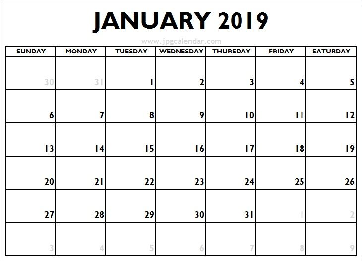 Blank January Calendar 2019 With Large Dates Jpg Calendar 2019