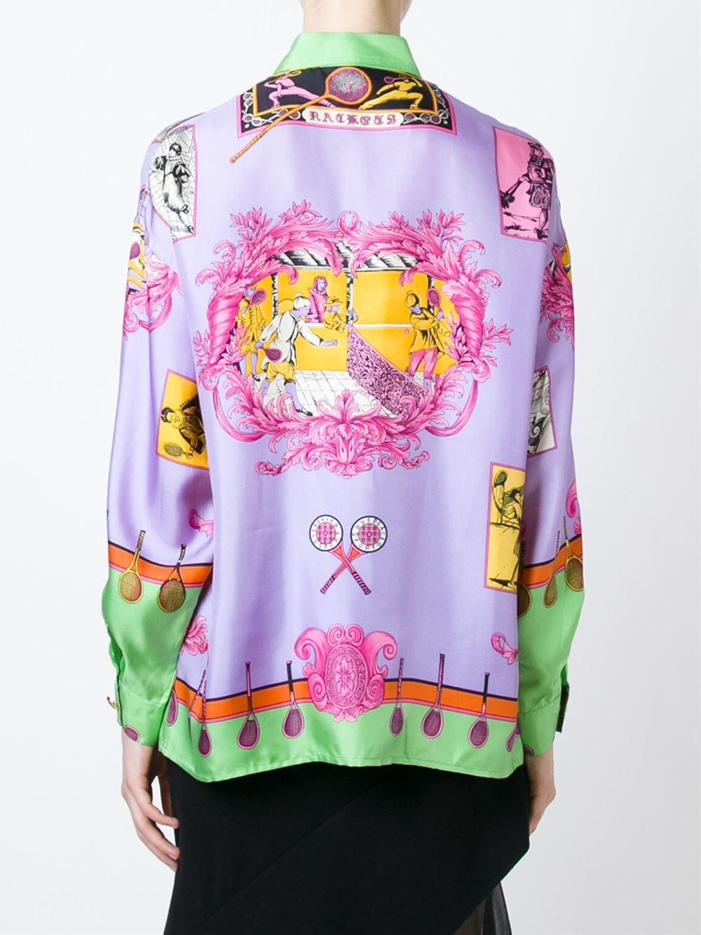 95ea88b6c4c Versace Vintage baroque tennis print shirt