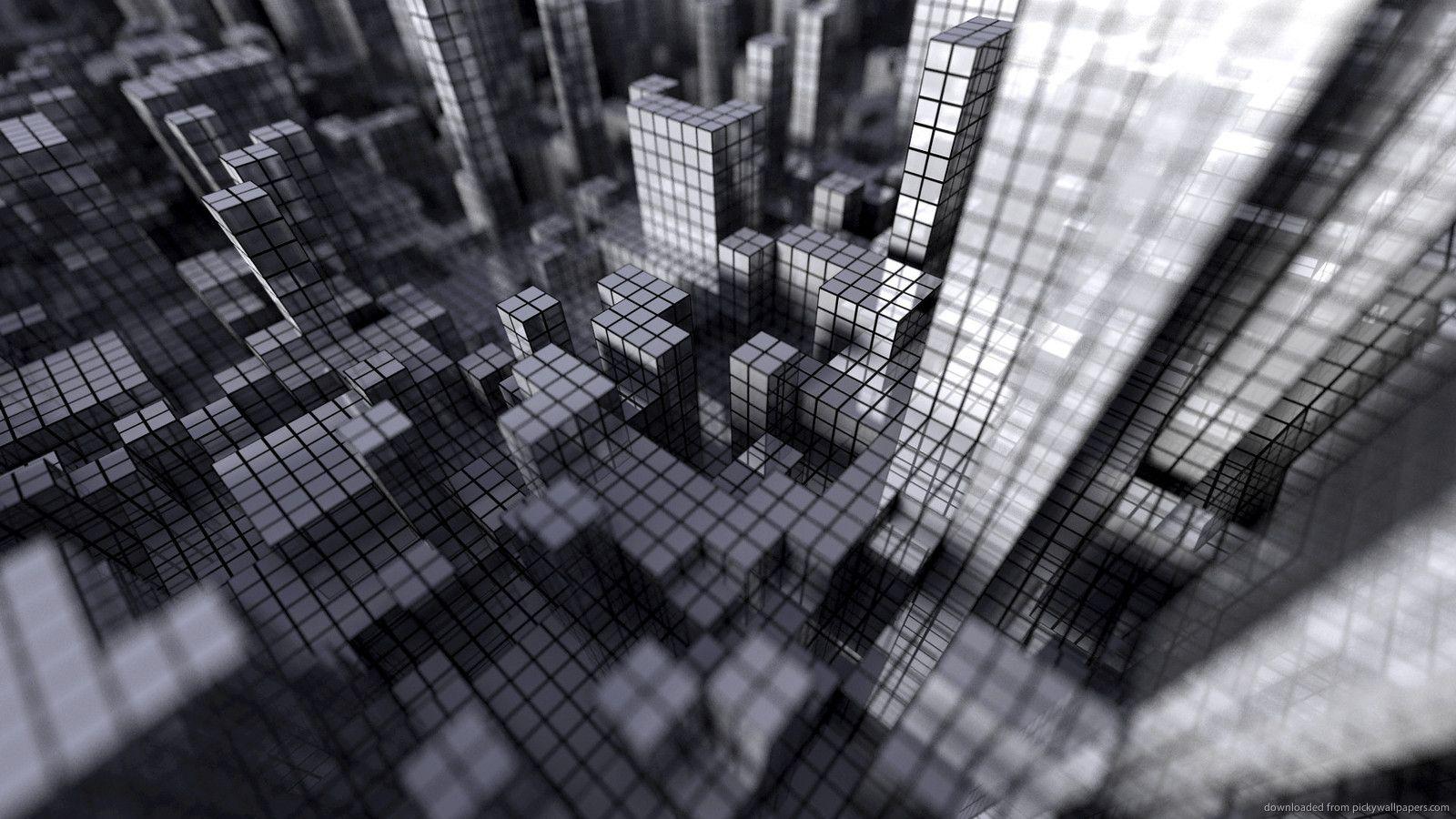 Gray 3d City For 1600x900 Downtown Grid Wallpaper City Wallpaper Grey