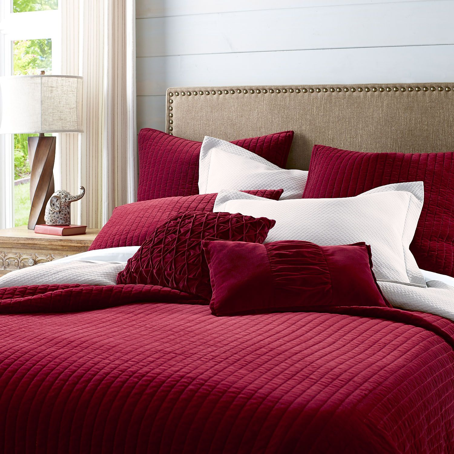 Atwood Velvet Quilt & Sham  Red  Cotton