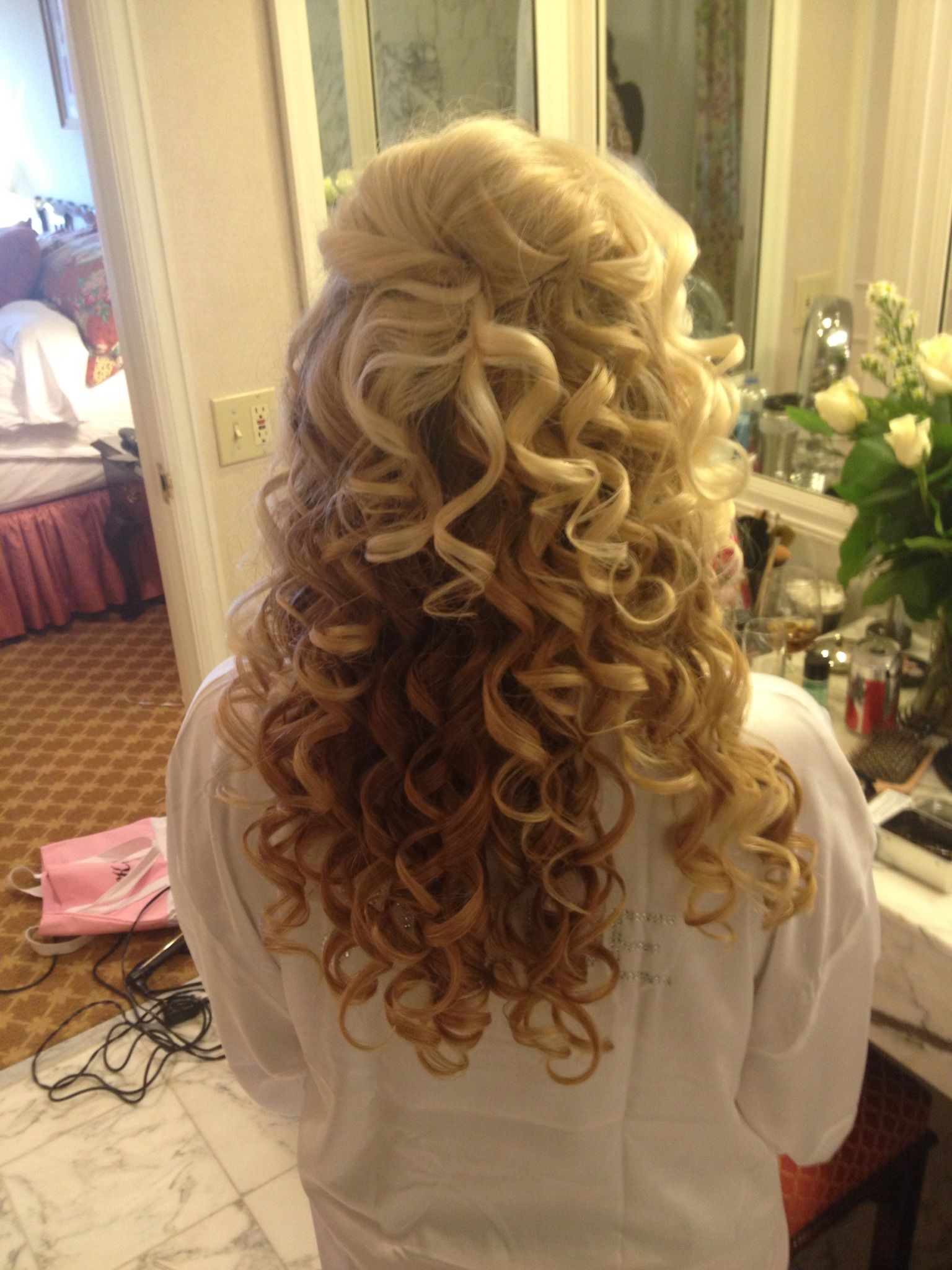 Half up with curls bridal updo wedding pinterest bridal updo