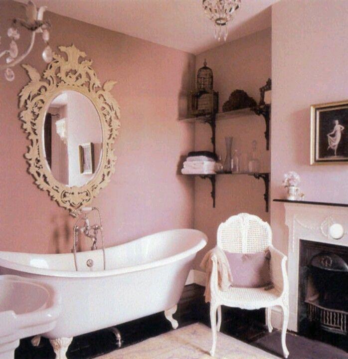 Blush pink bathroom walls | Glamorous bathroom, Romantic ...