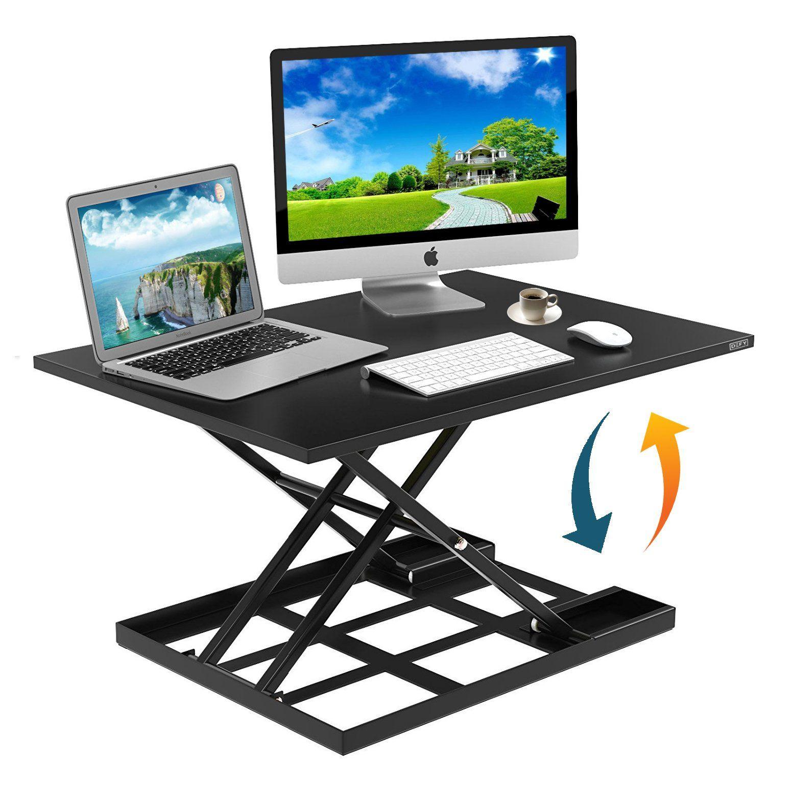 Height Adjustable Standing Desk Converter Ergonomic Sit Stand Black Riser  Large Top Size 32 X 22u201d Inch Gas Spring Workstation Anti Fatigue Up U0026 Down  ...