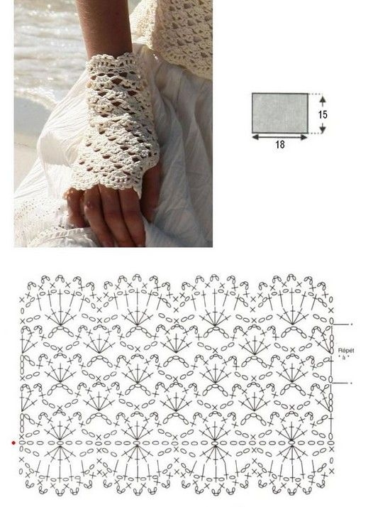 Guantes sin dedos o mitones a crochet y dos agujas, con patrones ...