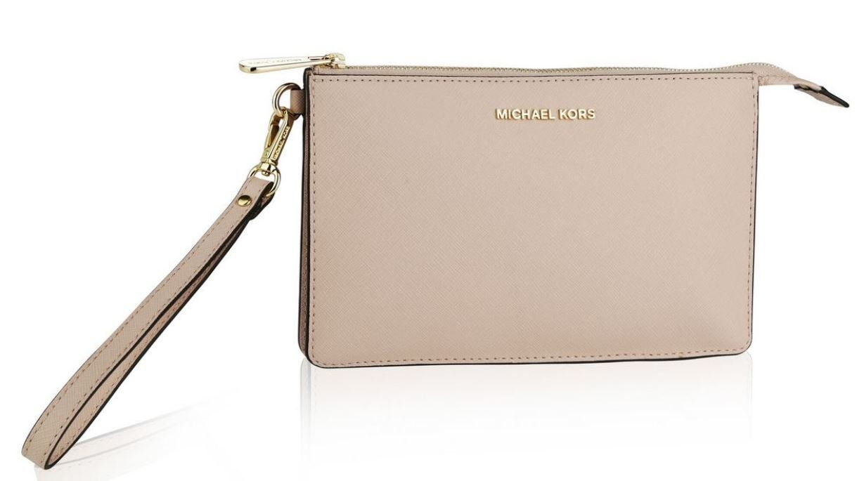 afbc4ca4424b MICHAEL Michael Kors Medium Daniela Leather Wristlet Fawn    Learn more by  visiting the image