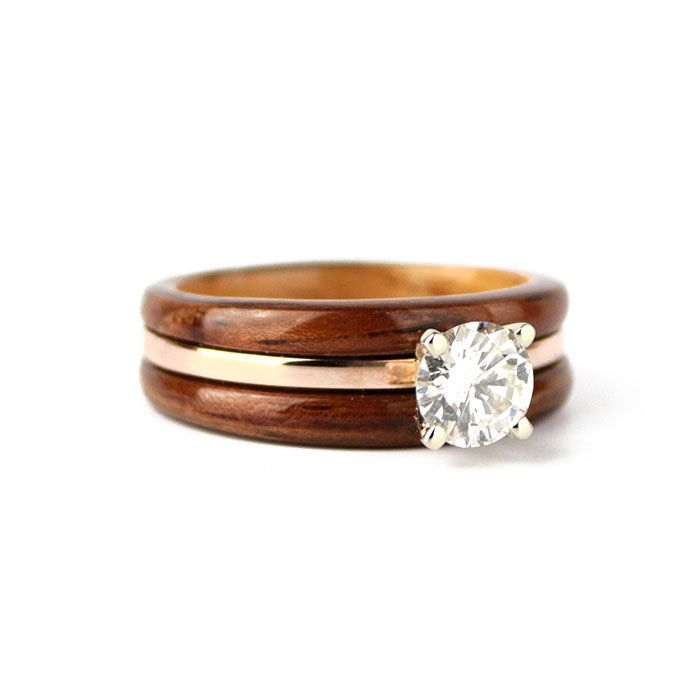 Rosewood And Maple Engagement Ring With Rose Gold And Diamond Wood And Metal Engagement Wooden Rings Engagement Wood Wedding Ring Women Wooden Wedding Ring
