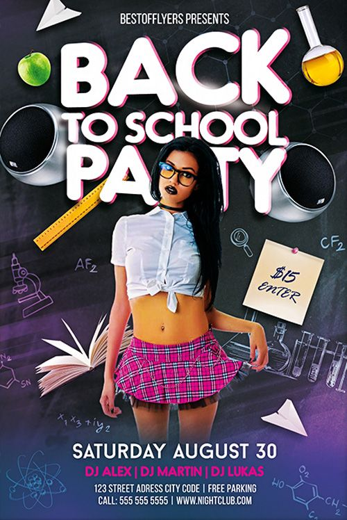 Back To School Party Free Psd Flyer Template  HttpFreepsdflyer