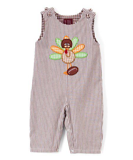 c52e68c569f Lil Cactus Brown Stripe Turkey   Football Overalls - Infant   Toddler
