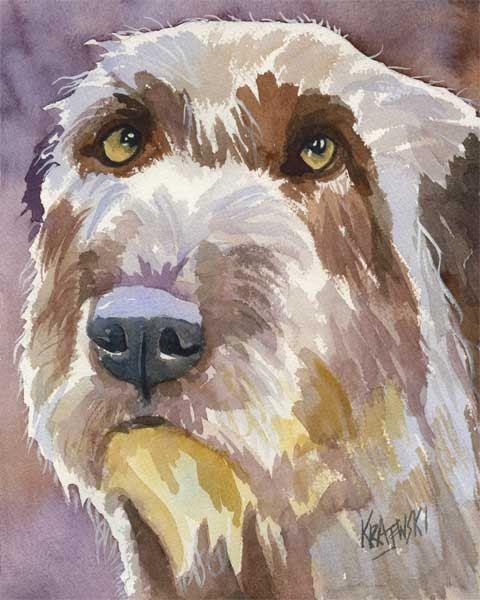 Irish Wolfhound Art Print Of Original Watercolor Painting 8x10