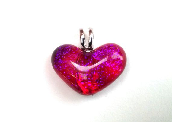 Dichroic Fused Glass Heart Pendant   Hearts by StudioKattoGlass