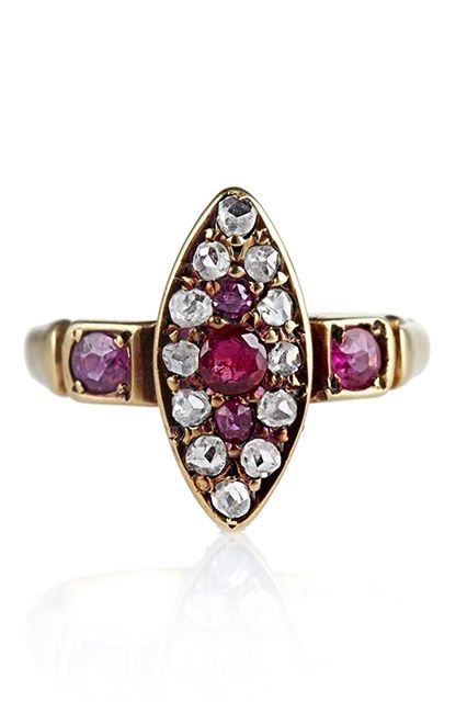 """Second only to diamonds, rubies are harder than any natural stone on earth. This one dates back to the late Georgian era when, according to The One I Love owner Mia Moross, """"rubies were believed to hold a heart of their own and could protect the wearer from death.""""The One I Love The Diamond"""