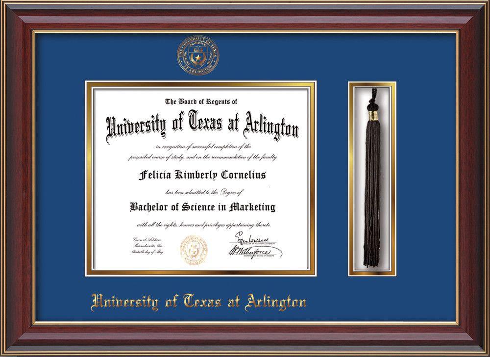 U. Texas-Arlington Diploma Frame-Cherry Lacquer-Tassel-Blue on Gold ...
