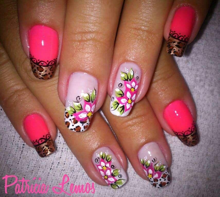 uñas animal print frances y flores   Uñas diseños flores fáciles ...