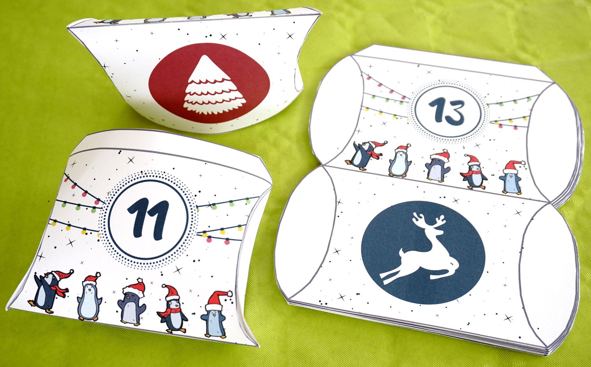 petites boites imprimer pour confectionner votre calendrier de l 39 avent creations pour fetes. Black Bedroom Furniture Sets. Home Design Ideas