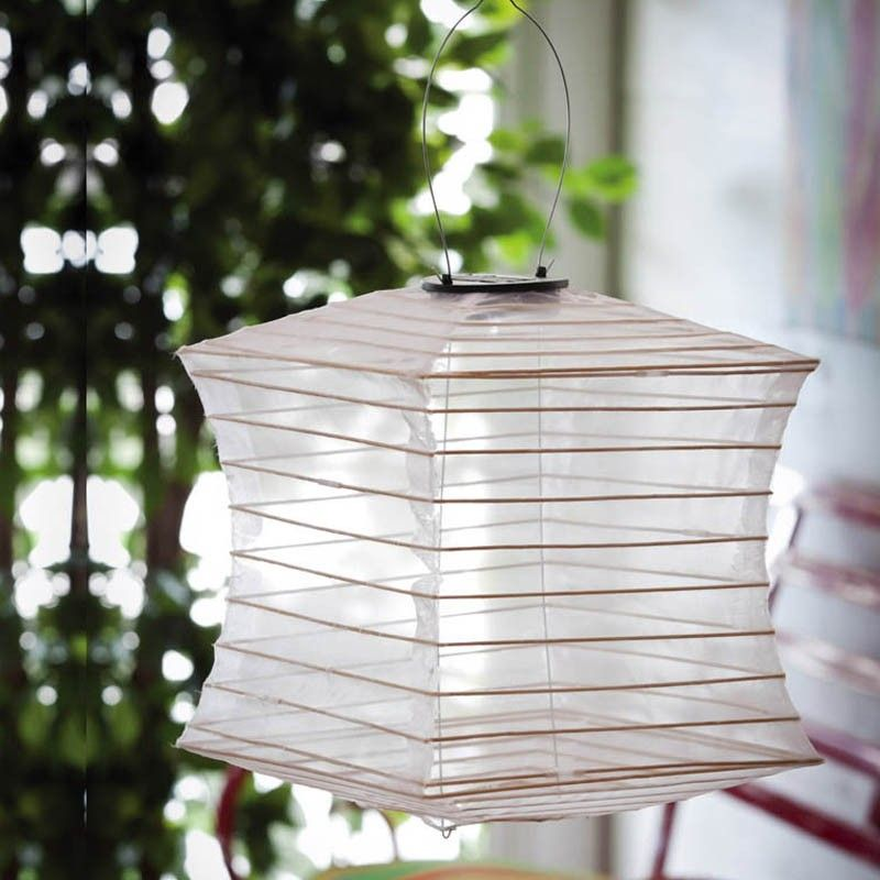 Solar Collapsible White Square Lantern Outdoor Hanging