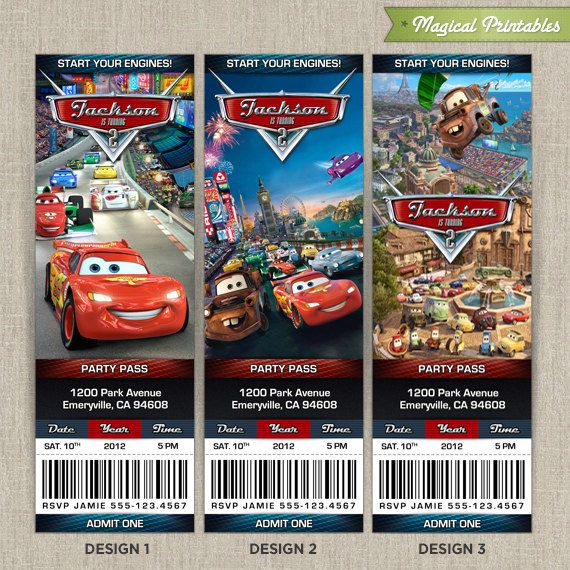 Personalized Disney Cars  Birthday Ticket Invitation Card Choose