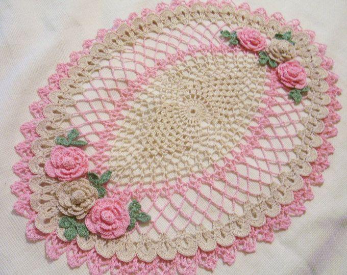 Tapete de centro de mesa ovalado de rosas tapetes - Centro de mesa a crochet ovalado ...