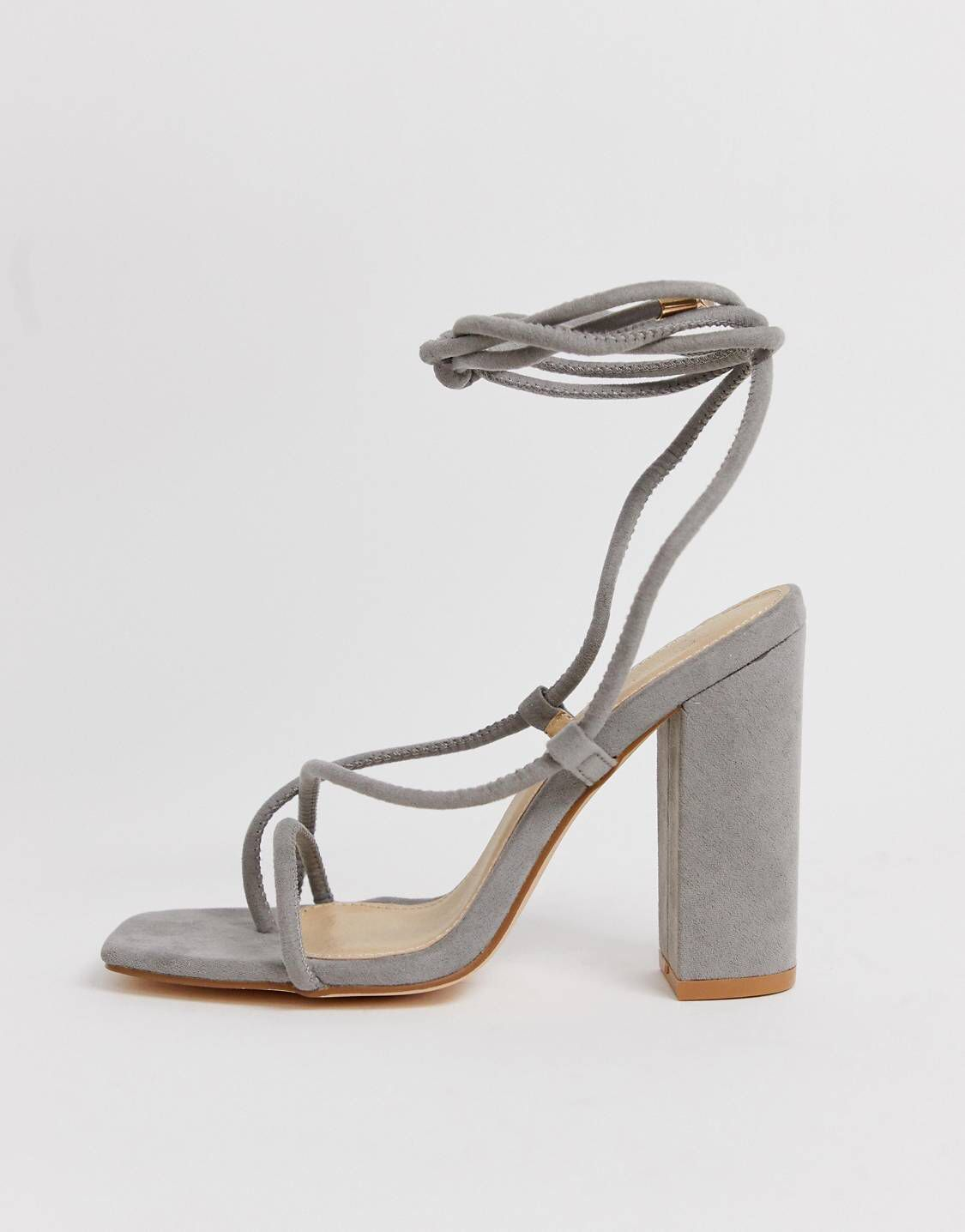 f39bb1a61fa6 Public Desire Betty grey ankle tie toe loop heeled sandals in grey suede