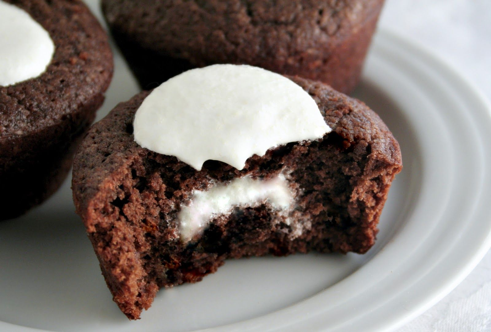 Chocolate cupcakes with marshmallow filling.