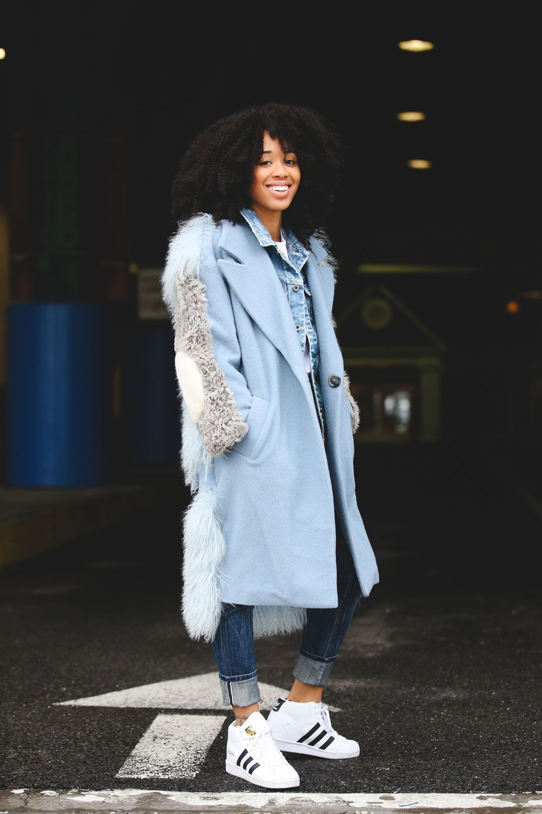 Lessons In Layering From The Streets Of New York City #refinery29  http://www.refinery29.com/2016/02/103173/ny-fashion-week-fall-winter-2016-street-style-pictures#slide-18  Add a little height to your classic Stan Smiths....