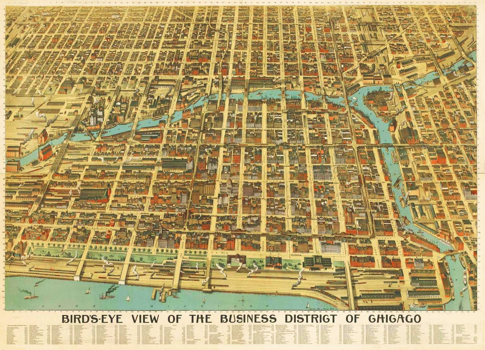 MAP  CHICAGO  BUSINESS DISTRICT  AERIAL  EARLY S - Chicago map neighborhoods streets