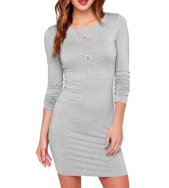 42f4537d3 Long Sleeve Skin Tight Dress   COLLEGE APPAREL   Grey bodycon ...