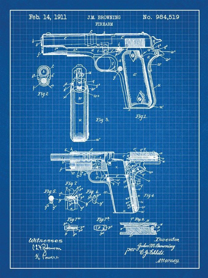 Inked Screened Posters Gun Blueprint Poster If You