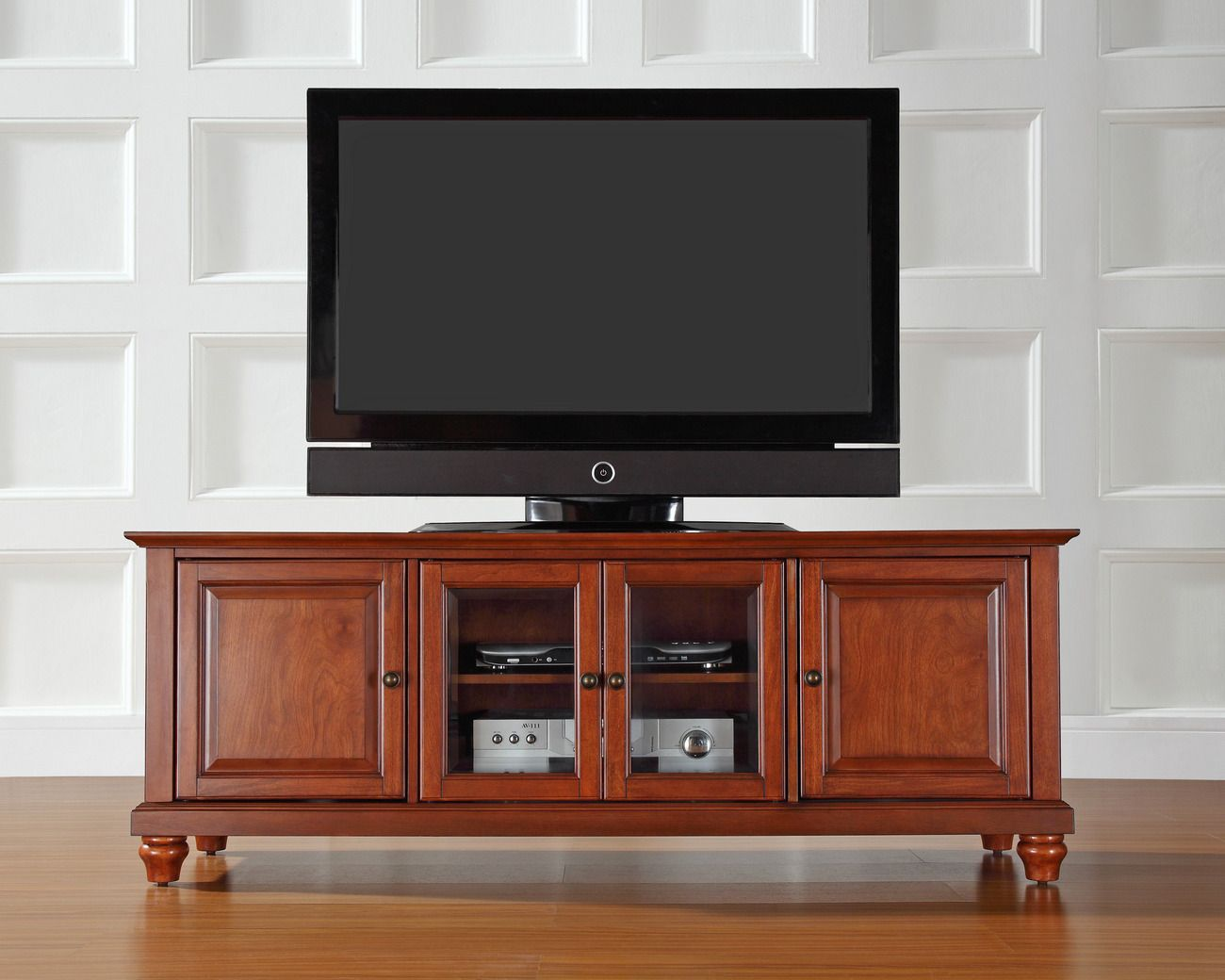 Cambridge 60 Low Profile Tv Stand In Classic Cherry Finish Crosley Kf10005dch In 2021 Low Profile Tv Stand 60 Tv Stand Tv Stand Wood