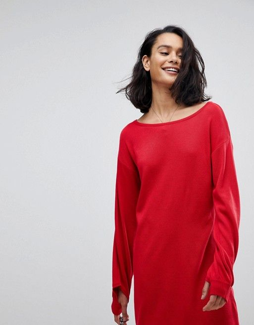 Knitted Mini Dress with Slash Neck and Balloon Sleeves - Red Asos Discount Outlet Outlet Amazon E4cq8