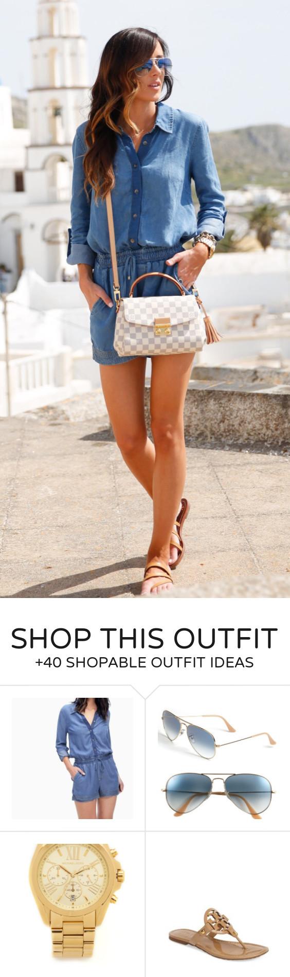 summer outfits  Chambray Shirt & Short   Gingham Shoulder Bag