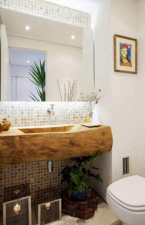 Fotos de banheiros rústicos lavabo com cuba esculpida em tora de - lavabos rusticos