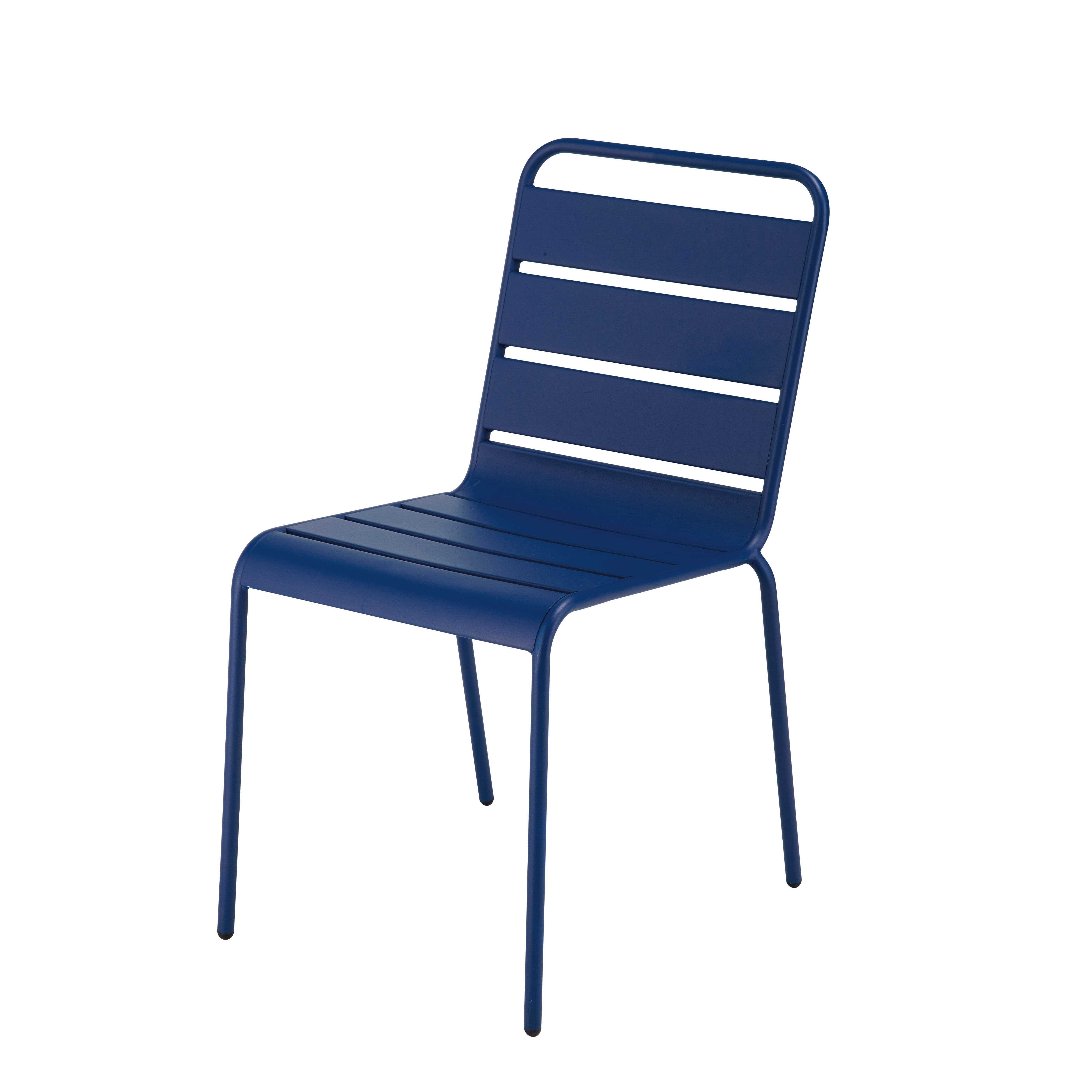 Stapelbarer Gartenstuhl aus marineblauem Metall Jetzt bestellen ...