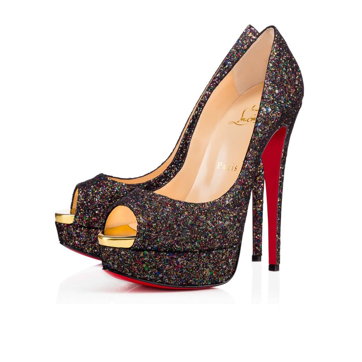 promo code fed23 071af CHRISTIAN LOUBOUTIN Lady Peep 150Mm Multicolor Glitter ...