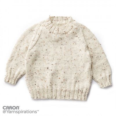 48dab459 Caron Child's Knit Crew Neck Pullover Free Knitting Pattern ...