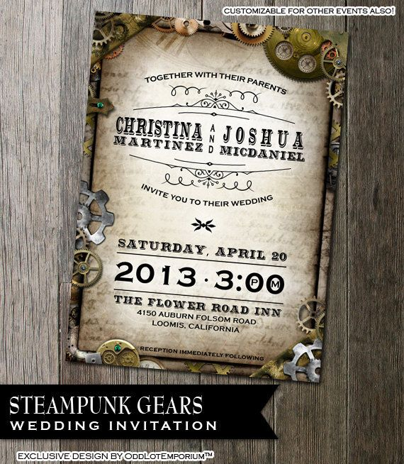 Steampunk Wedding Invitation With Multiple Gears On
