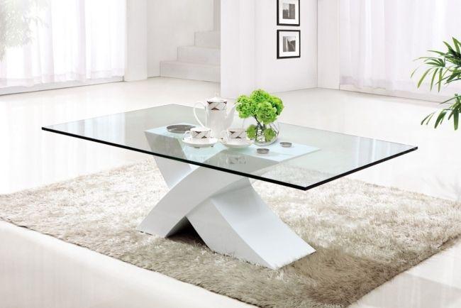 Glas Weiß Couchtisch Modern Wohnzimmer Shaggy Teppich Creme