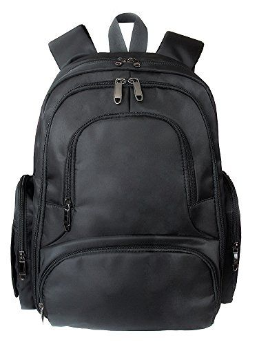 Baby 16 Pockets Waterproof Lightweight Fabric Travel Backpack Diaper Bag with Changing Pad 3 Pieces Set (Black) - $89.99