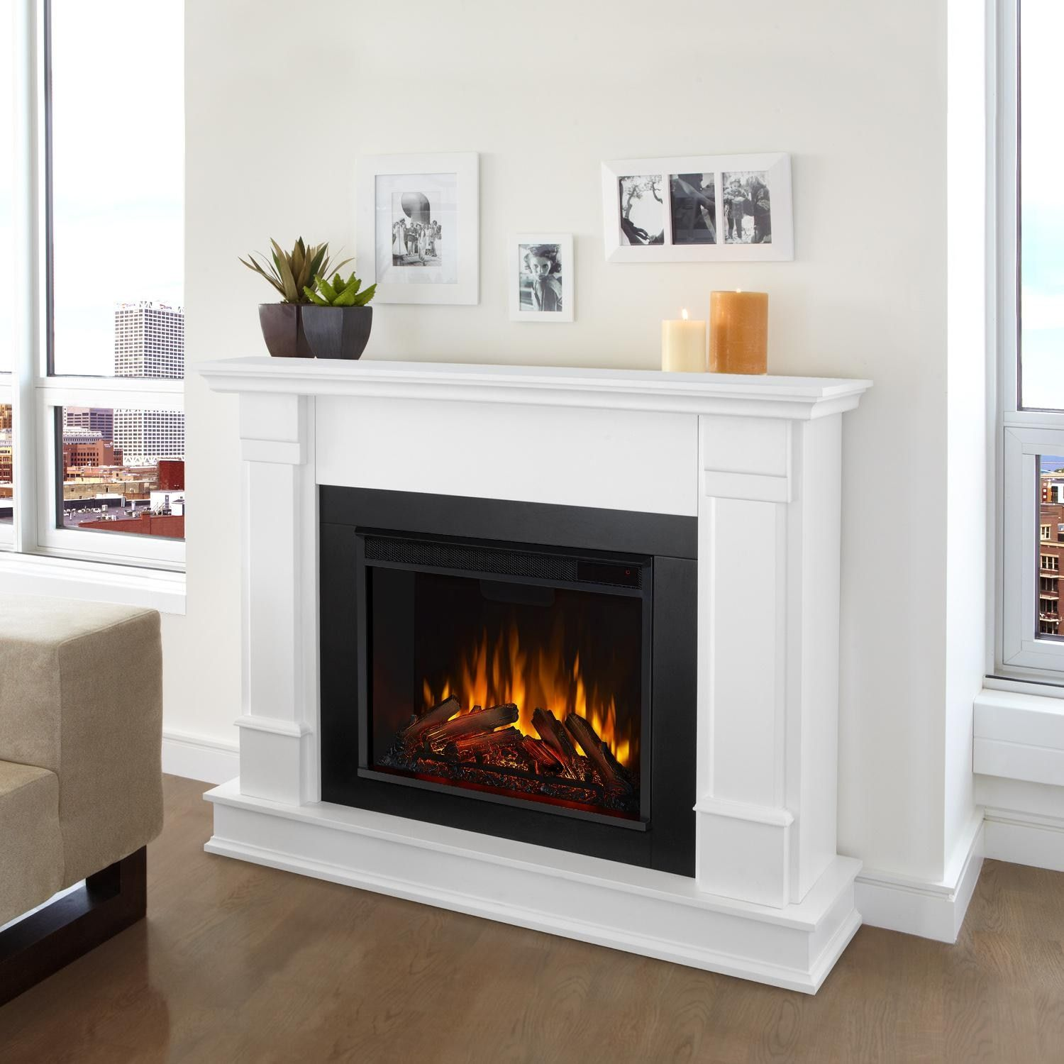 Real Flame G8600e W Silverton 48 Inch Electric Fireplace With Mantel White Bbqguys In 2020 White Electric Fireplace Electric Fireplace Electric Fireplace With Mantel