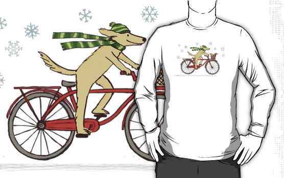 Cycling Dog and Squirrel Holiday cards, stickers, t-shirts, and electronics cases