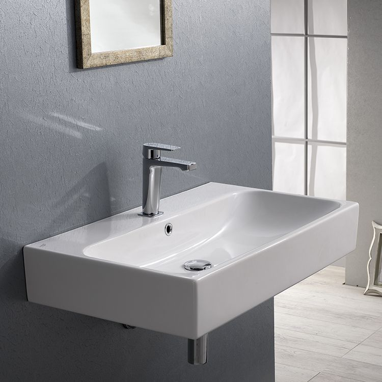 Rectangular White Ceramic Wall Mounted Or Vessel Bathroom Sink