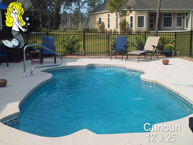 Cancun 12 X 25 Freeform Fiberglass Pool Swimming Pool Featuring 2 Built In Seating Areas Sweeping Entranc Pool Fiberglass Swimming Pools Swimming Pools