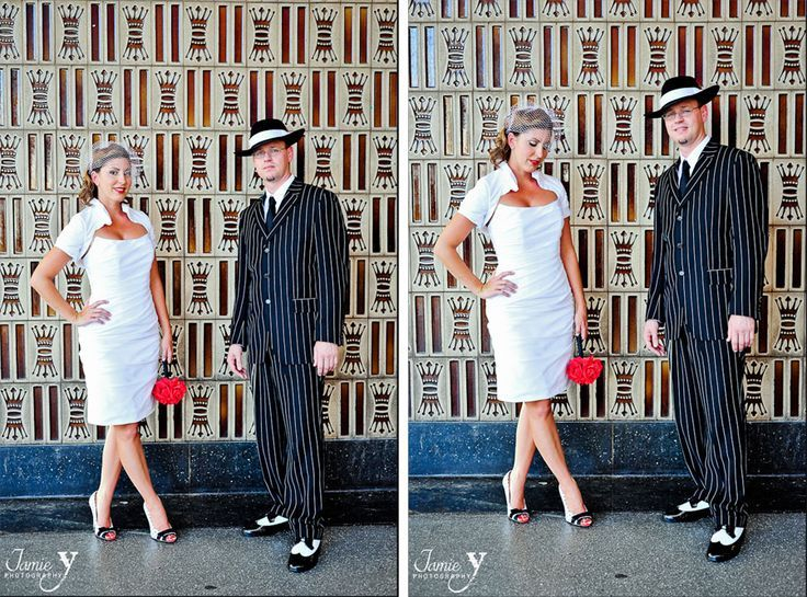 zoot suite weddings | Zoot Suit for him, short white dress for her ...