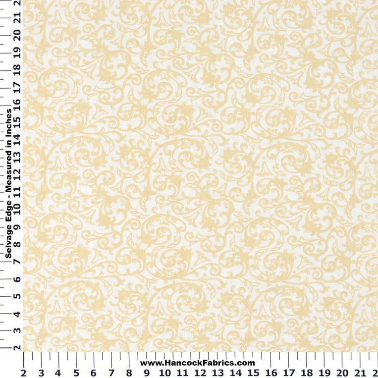 Absolutely Yellow Floral Scroll Cotton Fabric