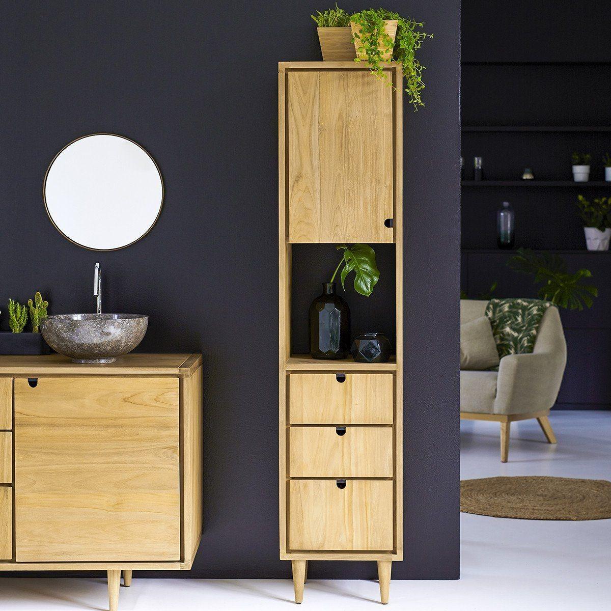 Colonne en bois de teck 180 jon k taille tu meuble - Petit meuble colonne salle de bain ...