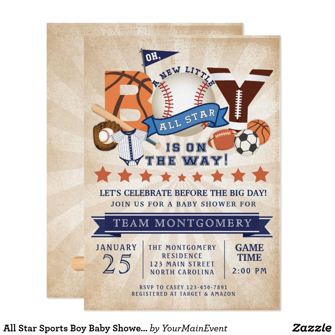 All Star Sports Boy Baby Shower Invitation   Baby Shower Invitations ...